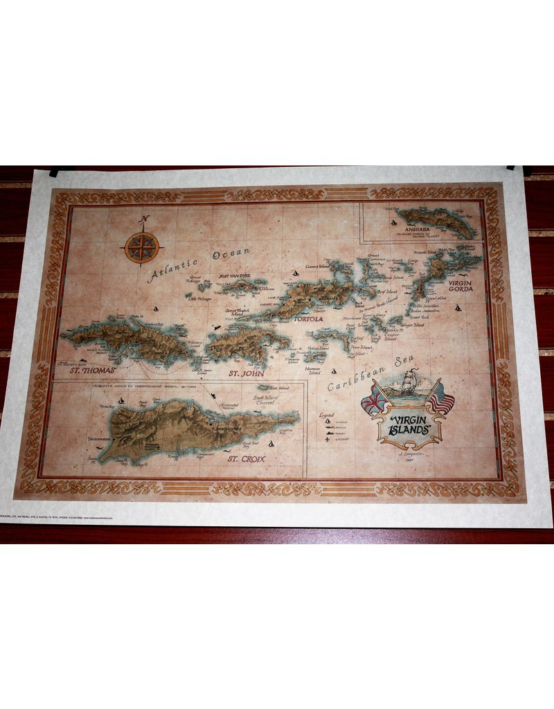 One Treasure Limited Virgin Islands Map 28 X 21