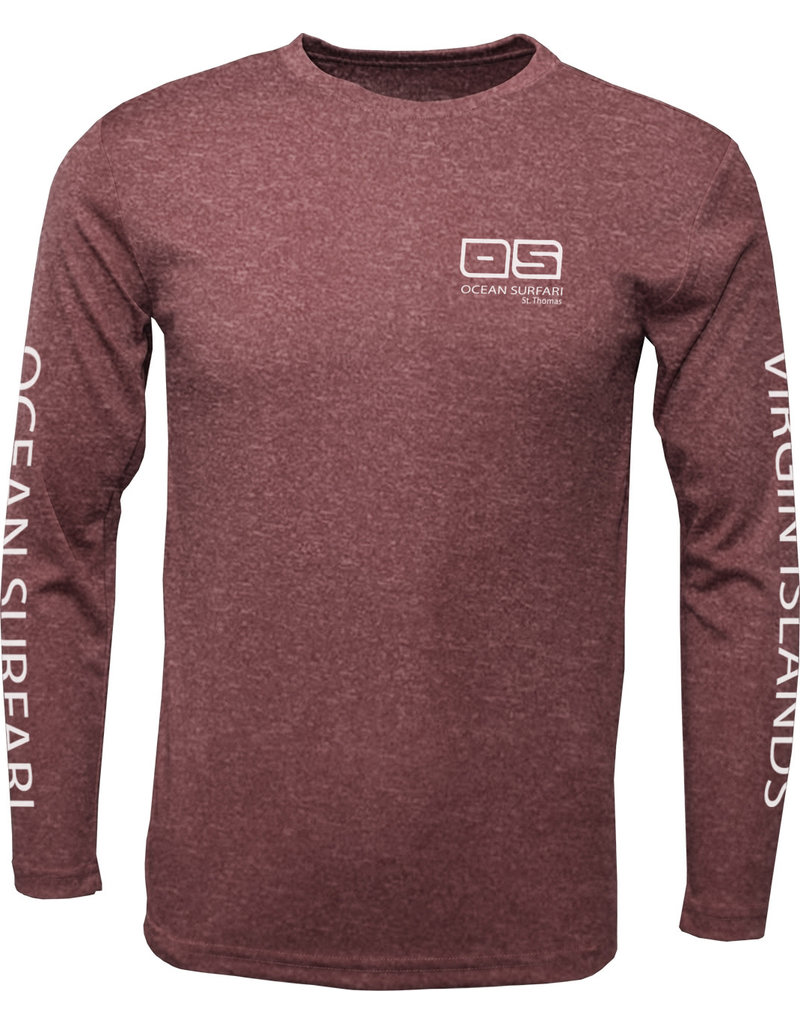 Ocean Surfari OS SPF 50+ Performance Men's LS Heather Maroon