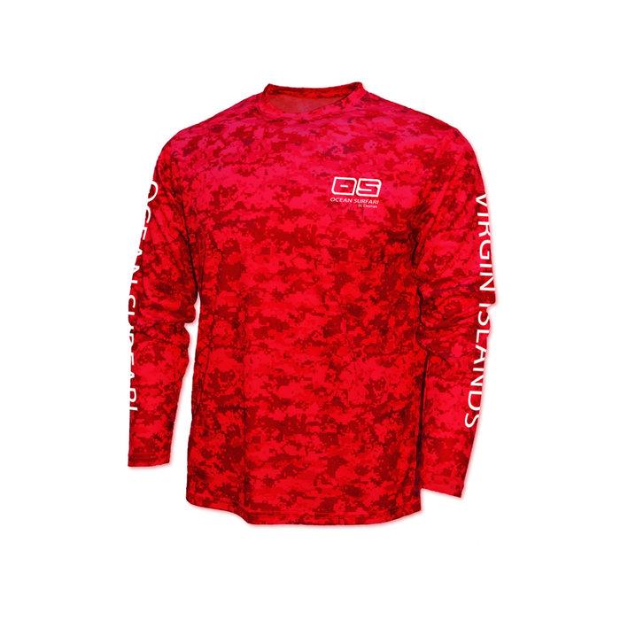OS SPF 50+ Performance Men's LS Digi Camo Red