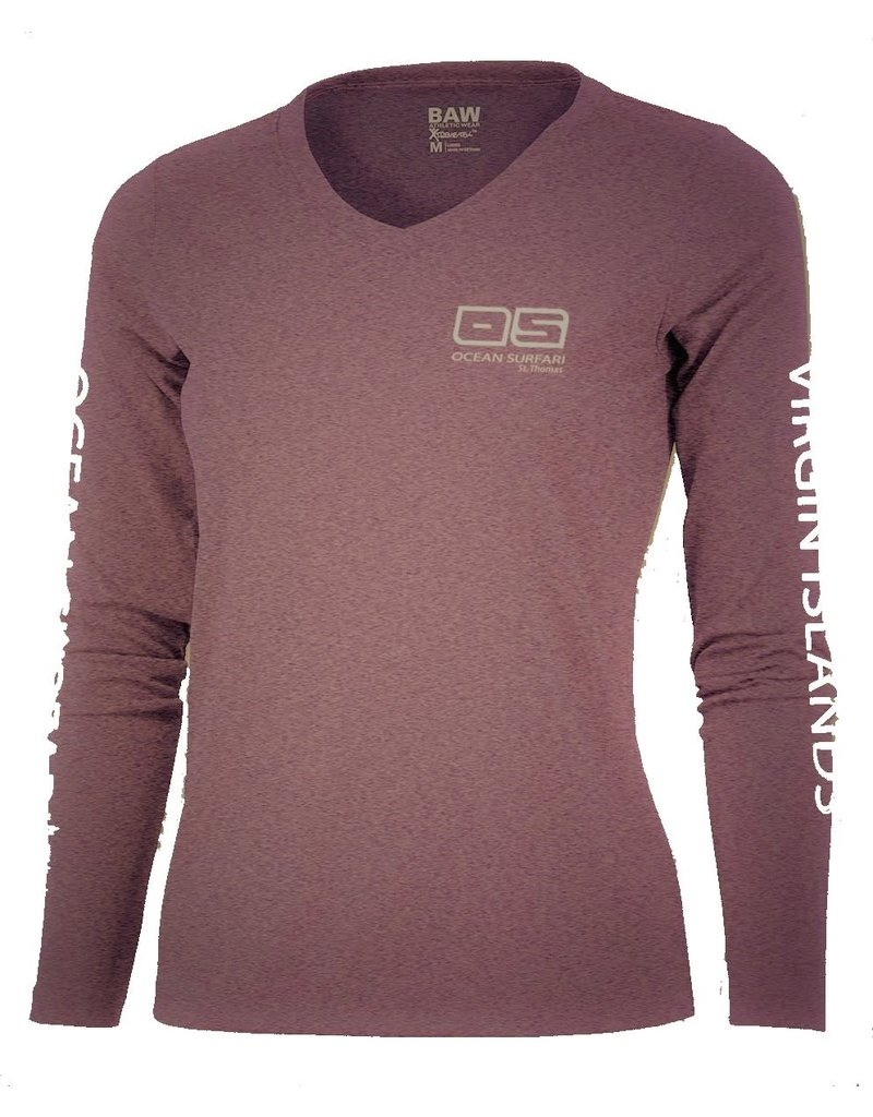 Ocean Surfari OS SPF 50+ Performance Lad LS Heather Maroon