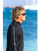 Ocean Surfari OS SPF 50+ Performance 1/4 Zip Men's LS Black