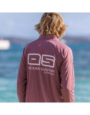 Ocean Surfari OS SPF 50+ Performance 1/4 Zip Men's LS   Heather Maroon