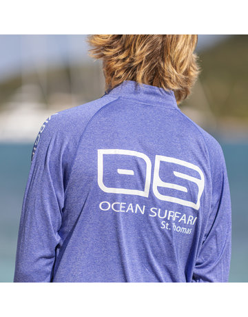 Ocean Surfari OS SPF 50+ Performance 1/4 Zip Men's LS Heather Royal