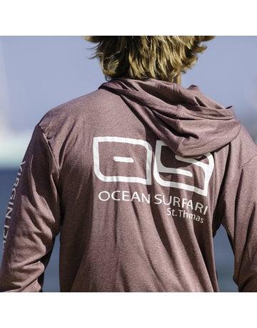 Ocean Surfari OS SPF 50+ Performance Men's Hoodie Heather Maroon