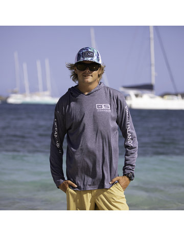 Ocean Surfari OS SPF 50+ Performance Men's Hoodie Heather Navy