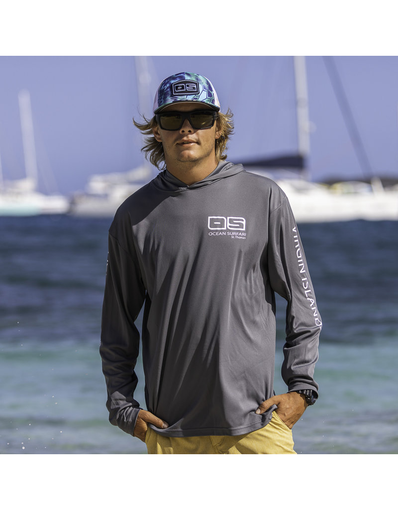 Ocean Surfari OS SPF 50+ Performance Men's Hoodie Charcoal
