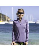 Ocean Surfari OS SPF 50+ Performance Lad LS 1/4 Zip Heather Purple