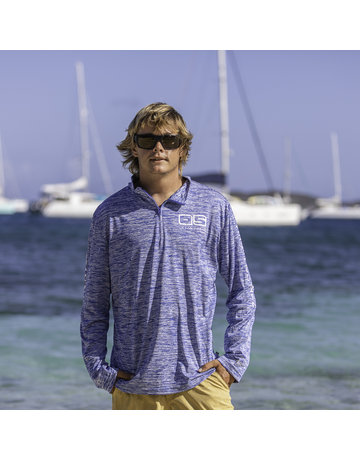 Ocean Surfari OS SPF 50+ Performance Men's 1/4 Zip Space Royal