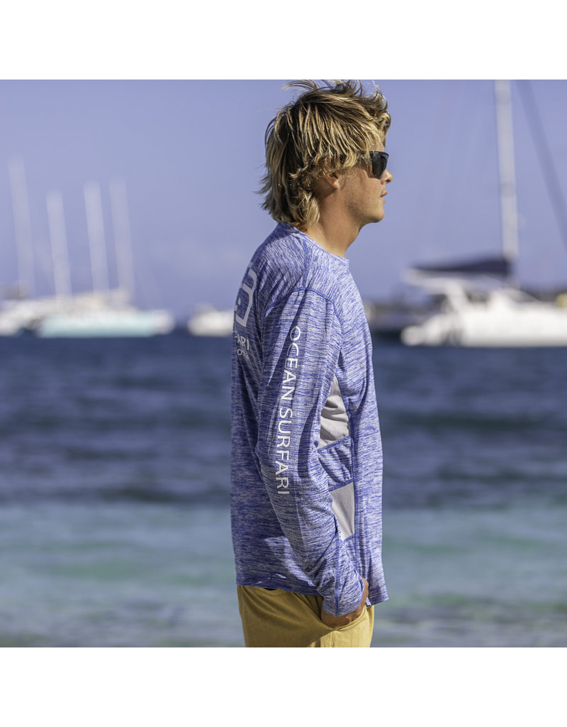 Ocean Surfari OS SPF 50+ Performance Men's LS Vent Space Royal