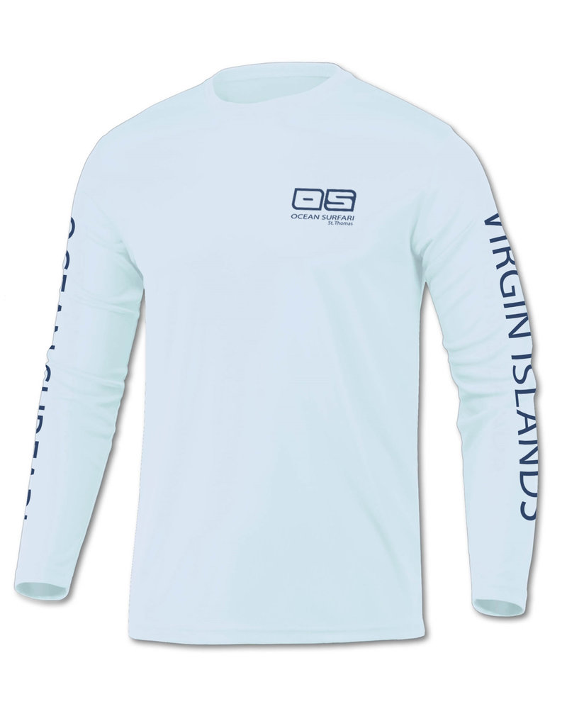 Ocean Surfari OS SPF 50+ Performance Youth LS Ice Blue