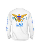 Ocean Surfari OS SPF 50+ Performance Men's LS VI Flag White