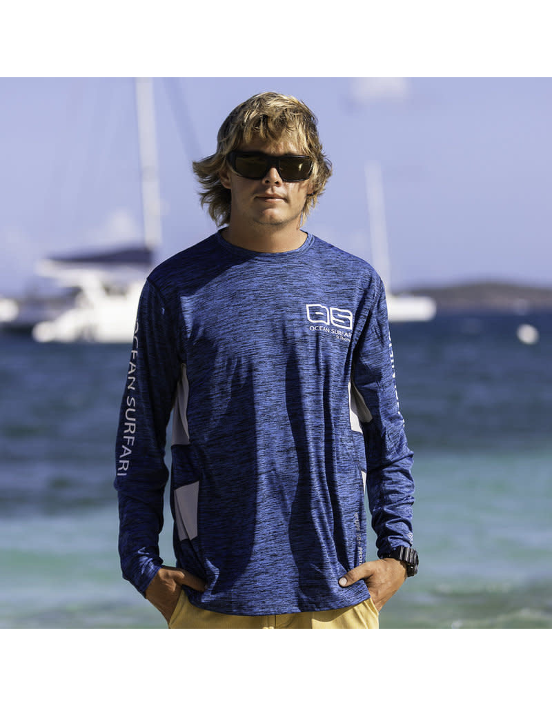 Ocean Surfari OS SPF 50+ Performance Men's LS Vent Space Navy