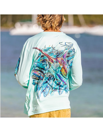 Ocean Surfari OS SPF 50+ Performance Men's LS Sushi Roll Seafoam