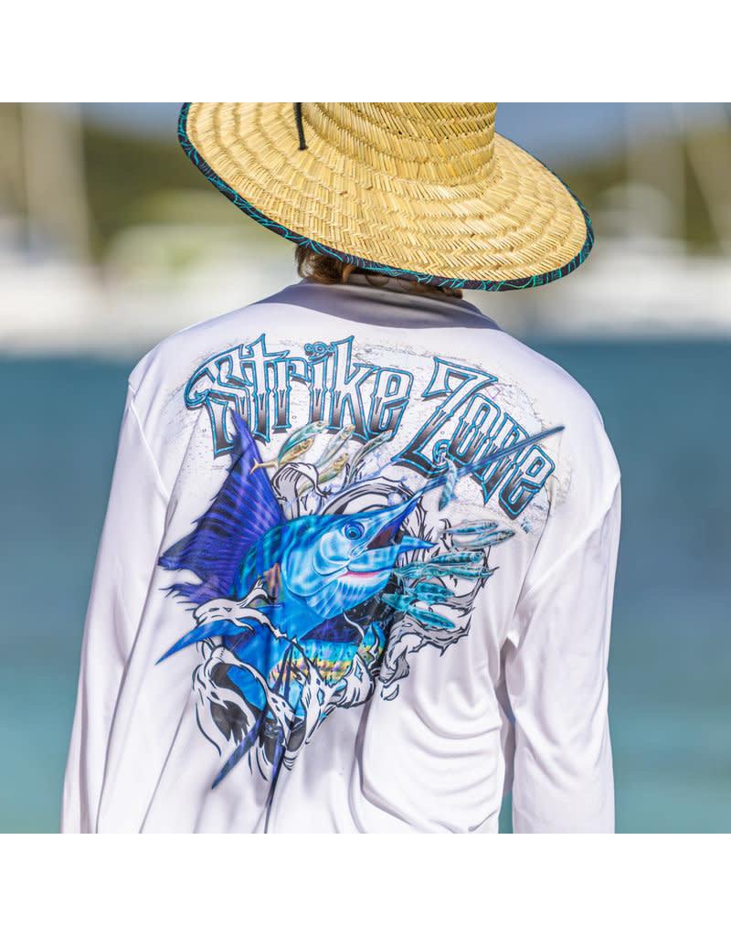 Ocean Surfari OS SPF 50+ Performance Men's LS Strikezone Sailfish White