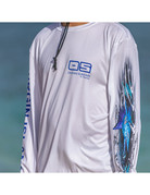 Ocean Surfari OS SPF 50+ Performance Men's LS Strikezone Sailfish White