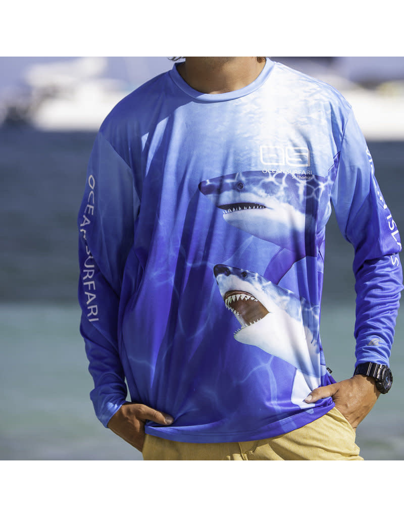 Ocean Surfari OS SPF 50+ Performance Men's LS Shark
