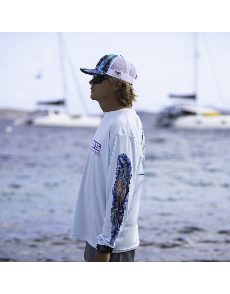 Ocean Surfari OS SPF 50+ Performance Men's LS Marlin/Sailfish Ice Blue