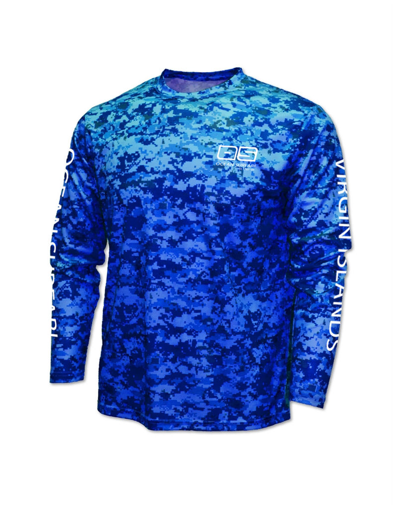 Ocean Surfari OS SPF 50+ Performance Men's LS Digi Camo Blue