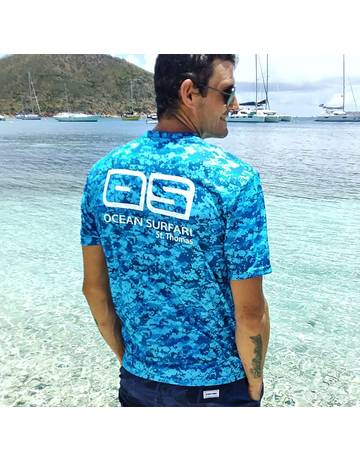 Ocean Surfari OS SPF 50+ Performance Men's SS Digi Camo Blue
