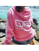 Ocean Surfari Marled Lace Up Hoodie Berry