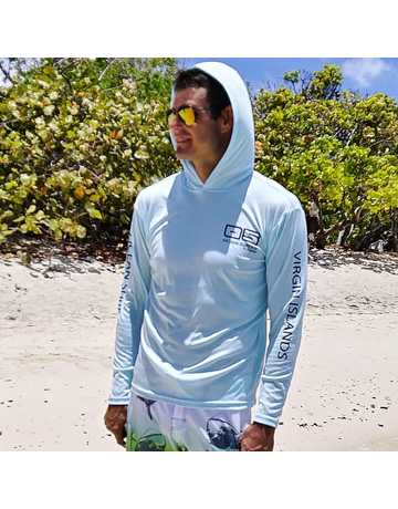 Ocean Surfari OS SPF 50+ Performance Men's Hoodie Ice Blue