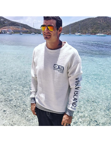Ocean Surfari Sherpa Fleece Crewneck Grey