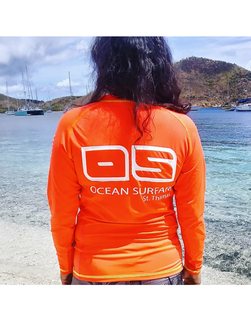 Ocean Surfari OS SPF 50+ Performance 1/4 Zip Lad Coral