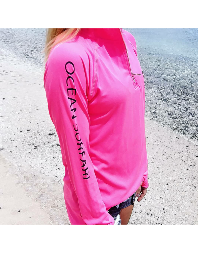 Ocean Surfari OS SPF 50+ Performance Lad LS 1/4 Zip Neon Pink
