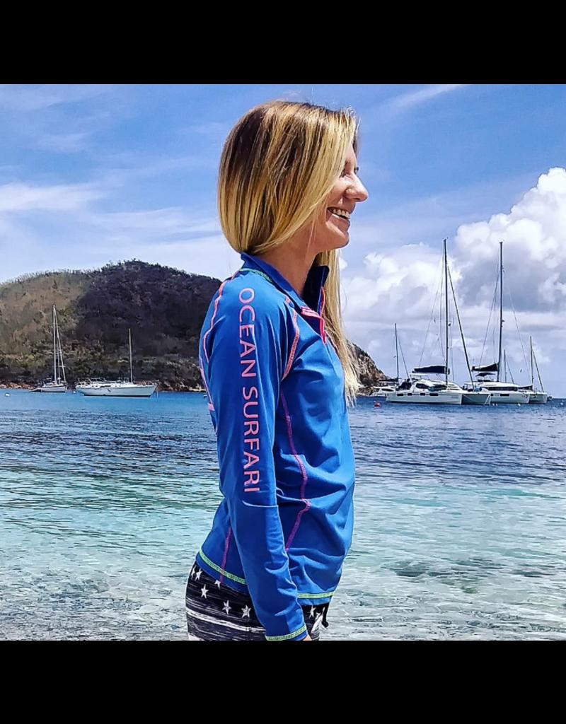 Ocean Surfari OS SPF 50+ Performance Ladies 1/4 Zip Royal