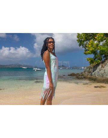 Ocean Surfari O/S Tie-Dye Fringe Beach Dress Seafoam