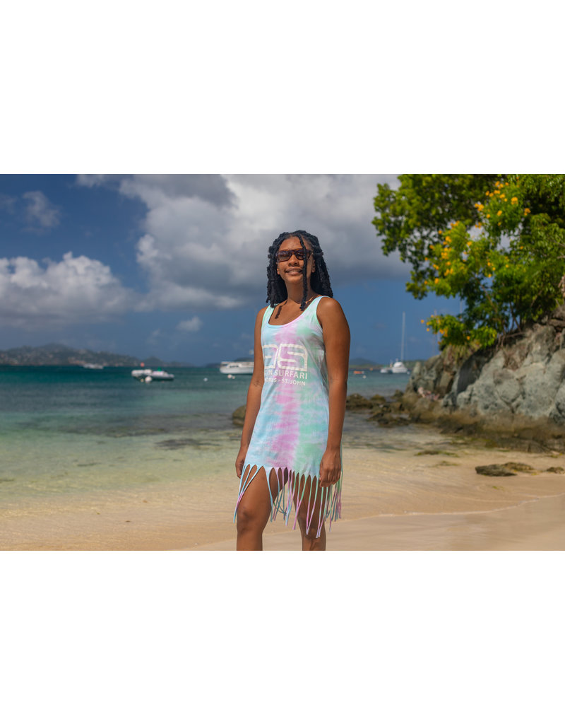 Ocean Surfari O/S Tie-Dye Fringe Beach Dress Seafoam