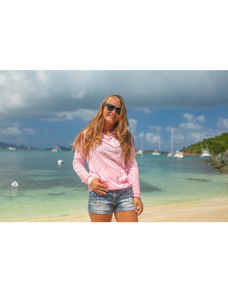 Ocean Surfari O/S  LW Burnout Hoodie Pink