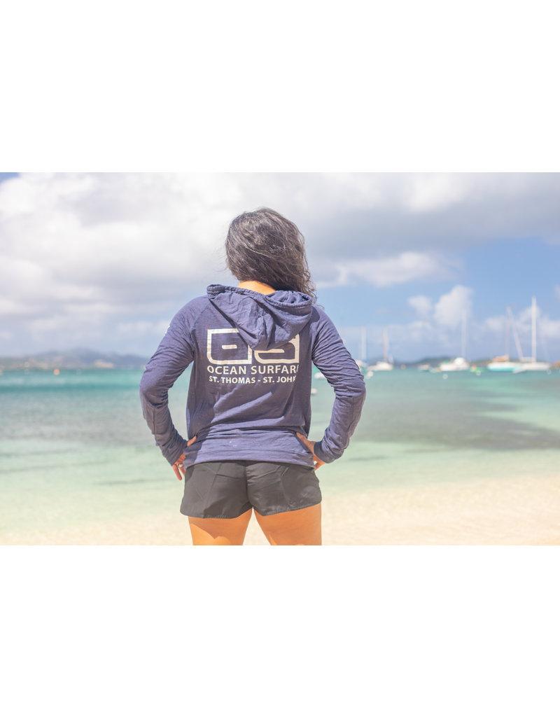 Ocean Surfari O/S  LW Burnout Hoodie Navy