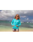 Ocean Surfari O/S LW Burnout Hoodie Aqua