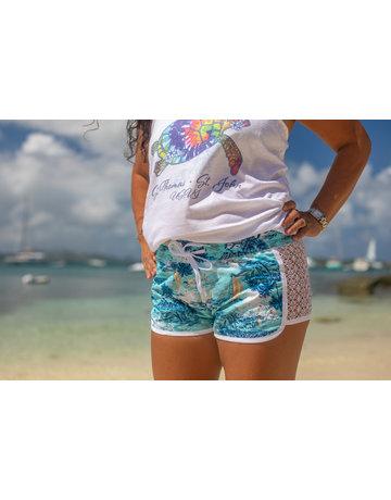 Raya Sun RS Side Lace Hawaiian Beach Print - Blue
