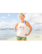 Ocean Surfari Knotted Back Tank White