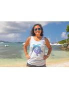 Ocean Surfari Missy Slub Tank Grapefruit Turtle Palm