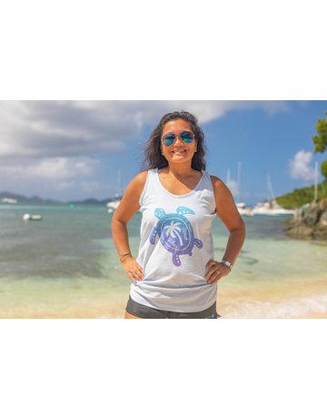 Ocean Surfari Missy Slub Tank Sea Blue Turtle Palm