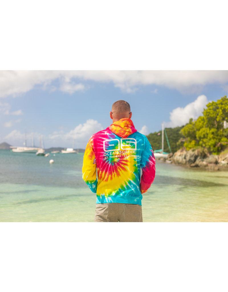 Ocean Surfari O/S Unisex Tie-Dye P/O Hoodie Rainbow
