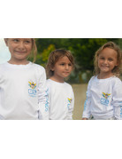 Ocean Surfari OS SPF 50+ Performance Youth LS VI Flag White