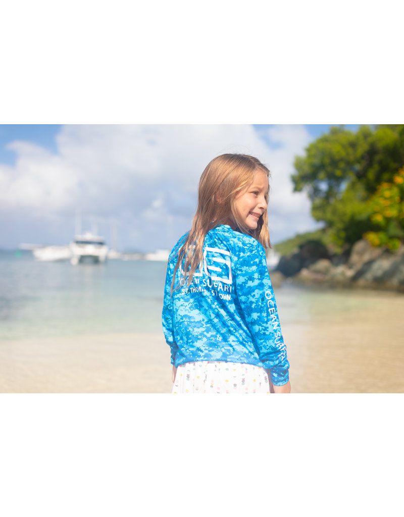 Ocean Surfari OS SPF 50+ Performance Youth LS Digi Camo Blue