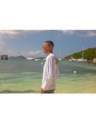 Ocean Surfari OS SPF 50+ Performance Men's LS VI Flag White