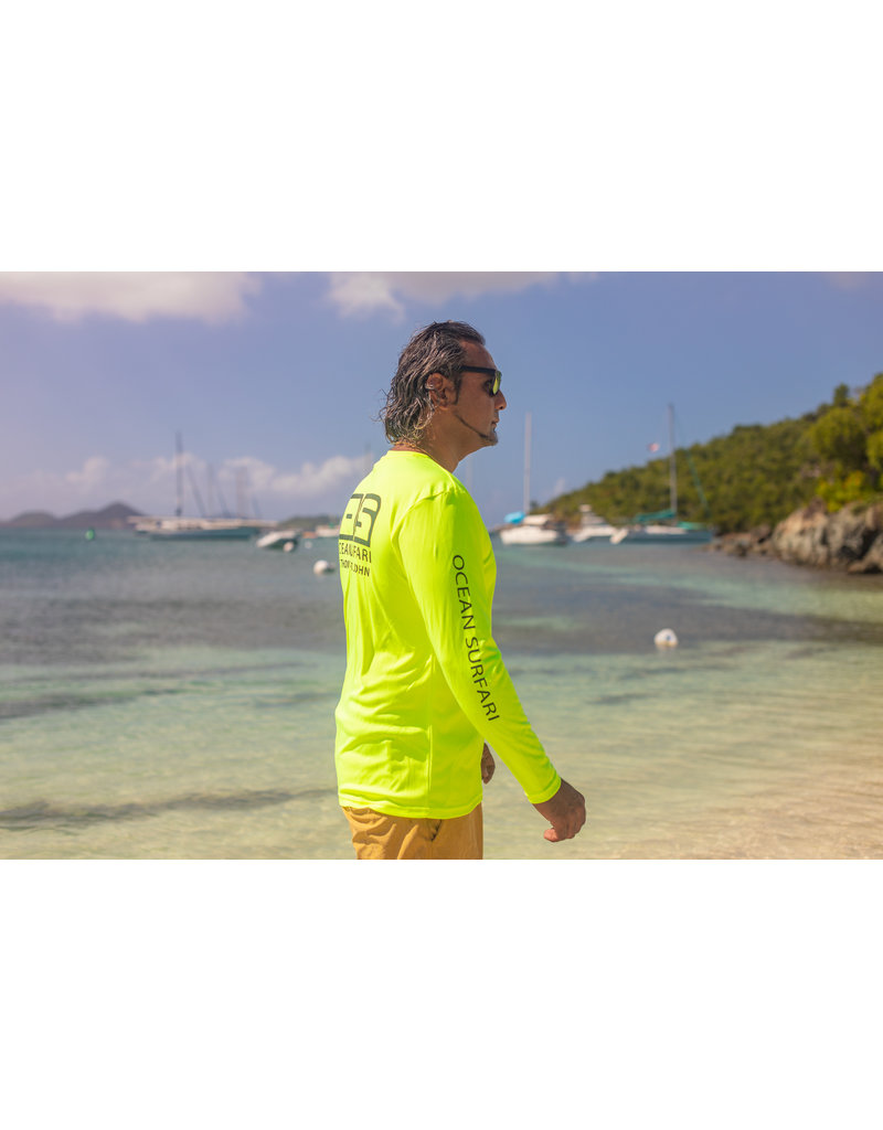 Ocean Surfari OS SPF 50+ Performance Men's LS Neon Yellopw