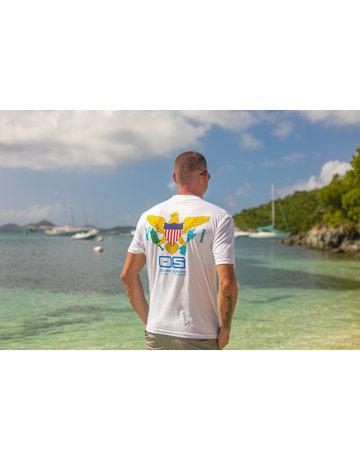 Ocean Surfari OS SPF 50+ Performance Men's SS White VI Flag