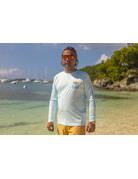 Ocean Surfari OS SPF 50+ Performance Men's LS VI Flag Lt Blue