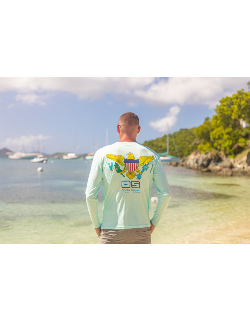 Ocean Surfari OS SPF 50+ Performance Men's LS VI Flag Mint Mens