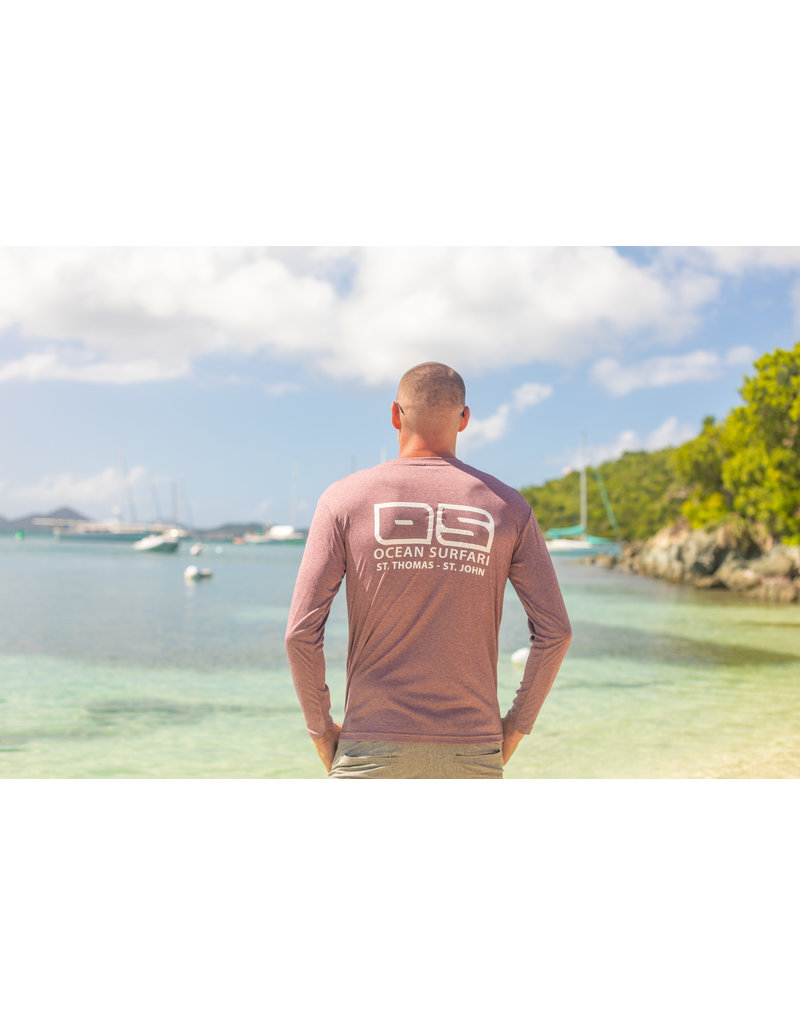Ocean Surfari OS SPF 50+ Performance Men's LS Heather Maroon