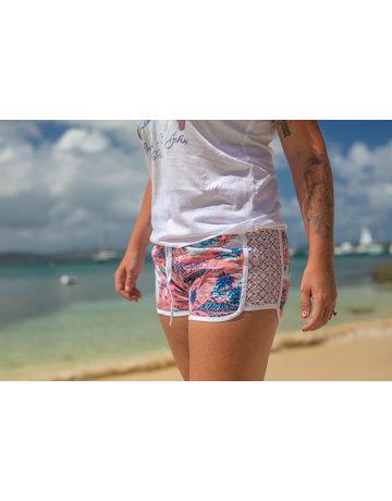 Raya Sun RS Side Lace Hawaiian Beach Print - Coral