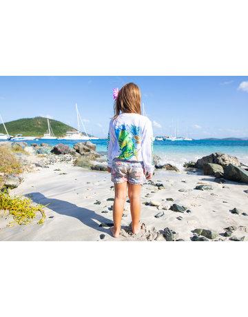 Ocean Surfari OS SPF 50+ Performance Youth LS Mahi White