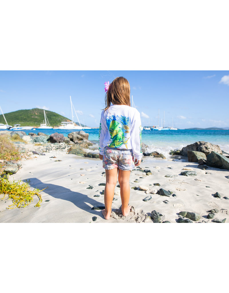 Ocean Surfari OS SPF 50+ Performance Youth LS Mahi White